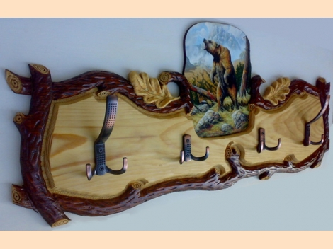 Hanger, wood-carving with a painting of a bear