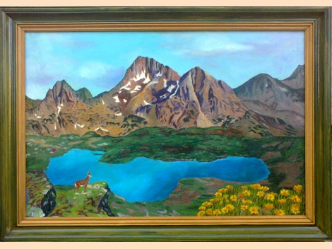 Pirin mountain - Peak Kamenica and Tevnoto Lake - Oil painting