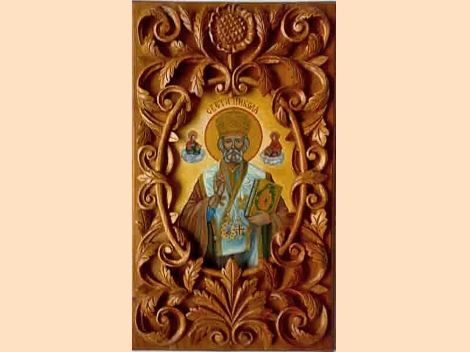 Icon St. Nicholas – wood-carving, unique art piece