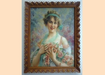 Portrait of a young woman with roses, Impressionism, Frame - carving