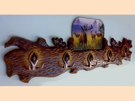 Hanger, wood-carving with a painting of deer