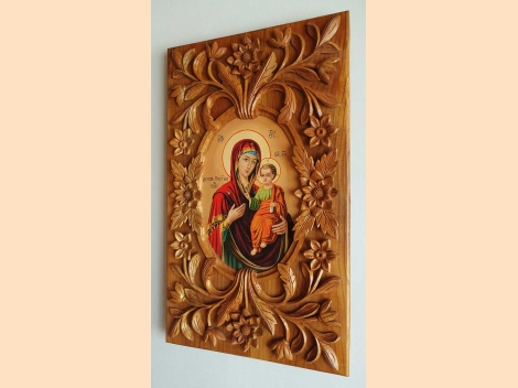 Icon Virgin Mary and child, wood-carving, unique art piece