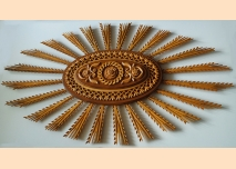 Sun-shaped rosette, wood-carving for ceiling