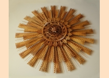 Wood-carved rosette for ceiling or wall decoration